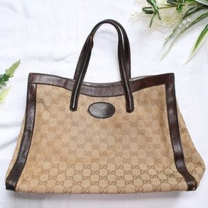 Gucci Vintage Brown Monogrammed GG Shopper Tote
